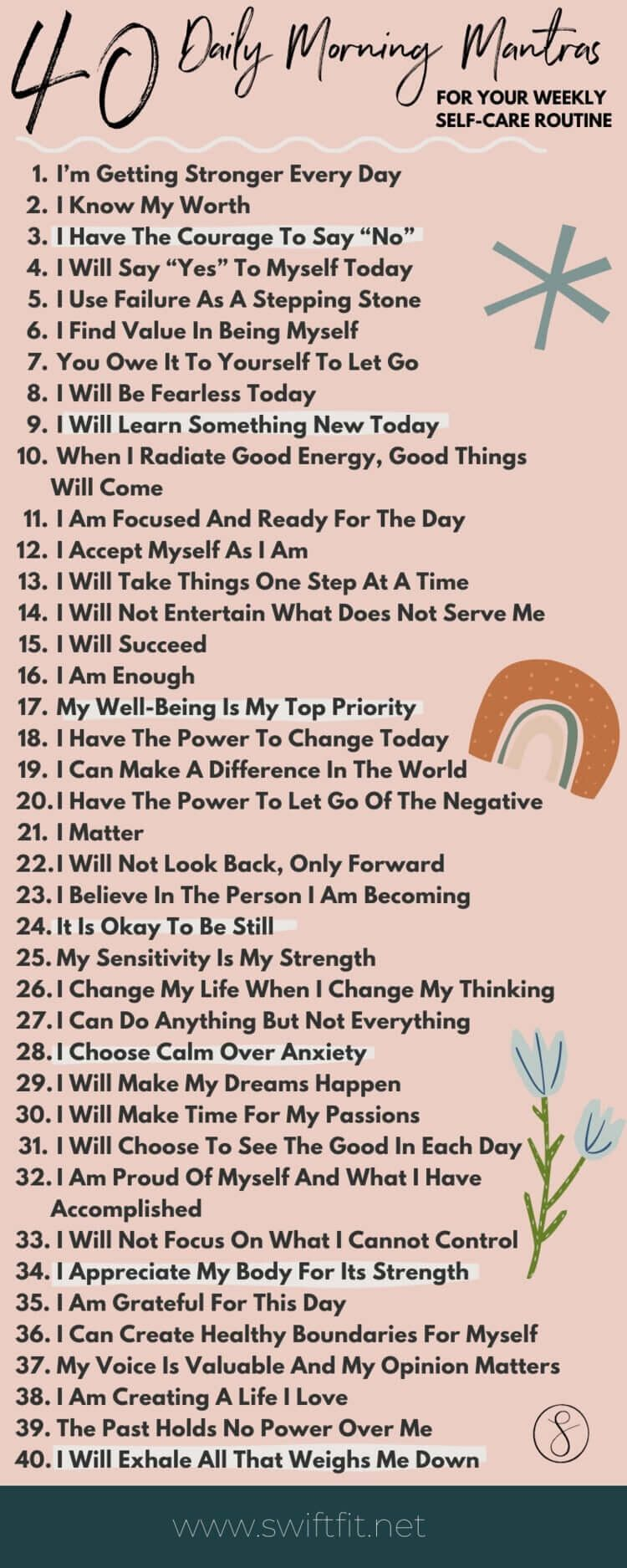 40 Daily Morning Mantras For Self Care   Swift Wellness