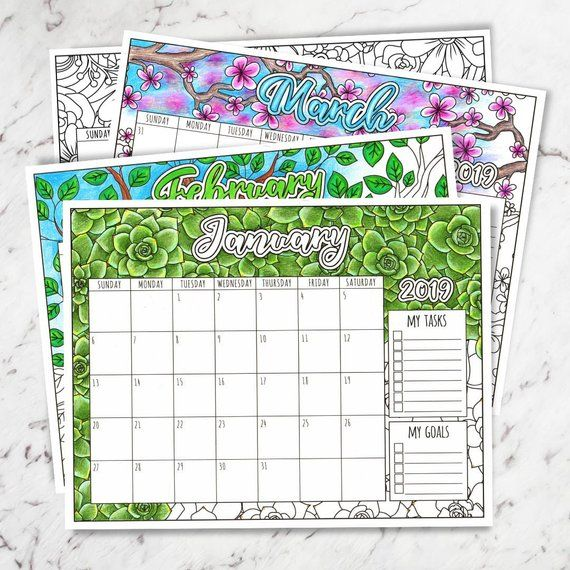 2019 Floral Printable Monthly Wall Calendar, 2019 Printable Calendar