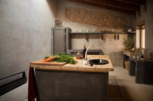 Decoración De Cocinas Rusticas Con Cemento El cemento también es un