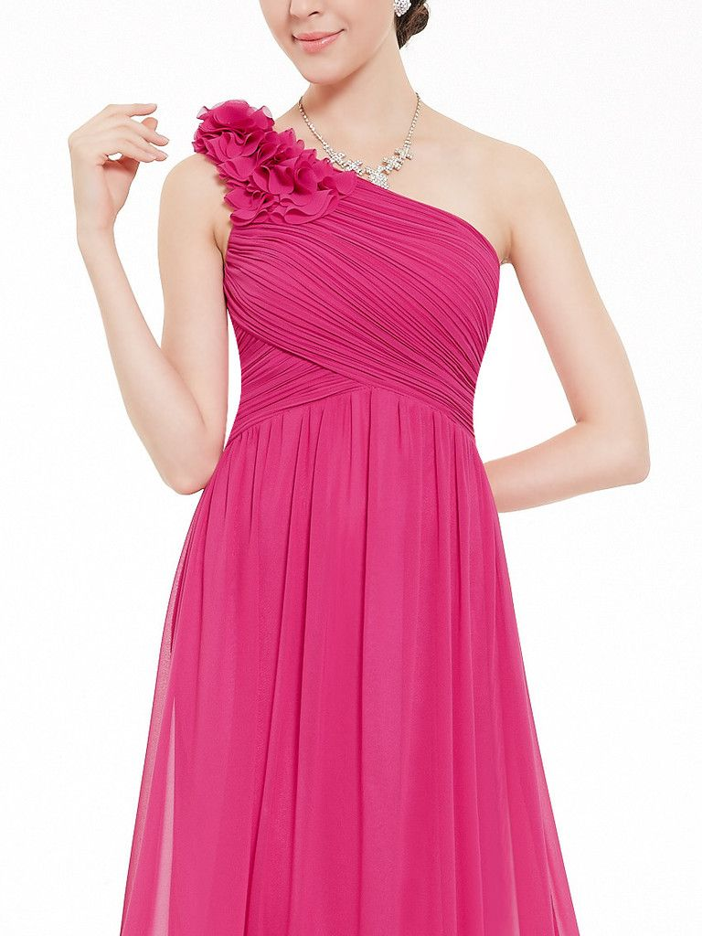 One shoulder long bridesmaid dress padded enough for