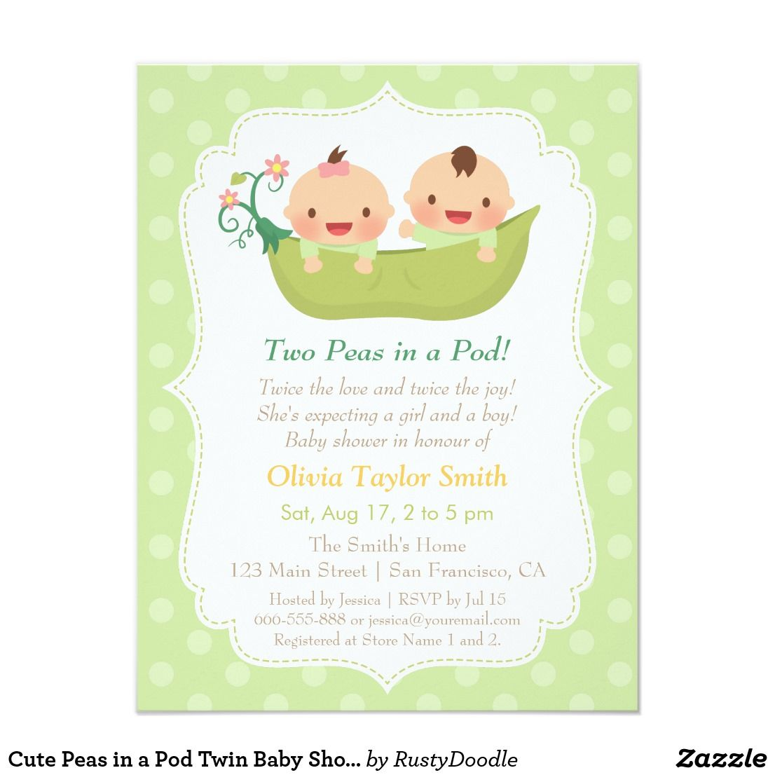 Cute Peas in a Pod Twin Baby Shower Invitations | Baby Shower ...