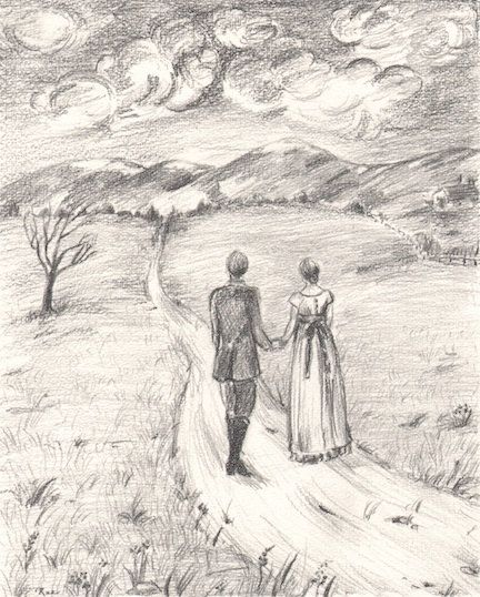 Items similar to romantic pencil drawing of couple in landscape on etsy