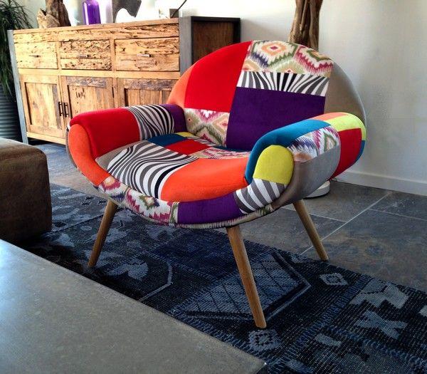 Fauteuil Scandinave En Tissu Patchwork Colore Tres Decoratif Un Style Unique De Boheme Chic Au Design Tres Tendance Fauteuil Design Fauteuil Fauteuil Salon