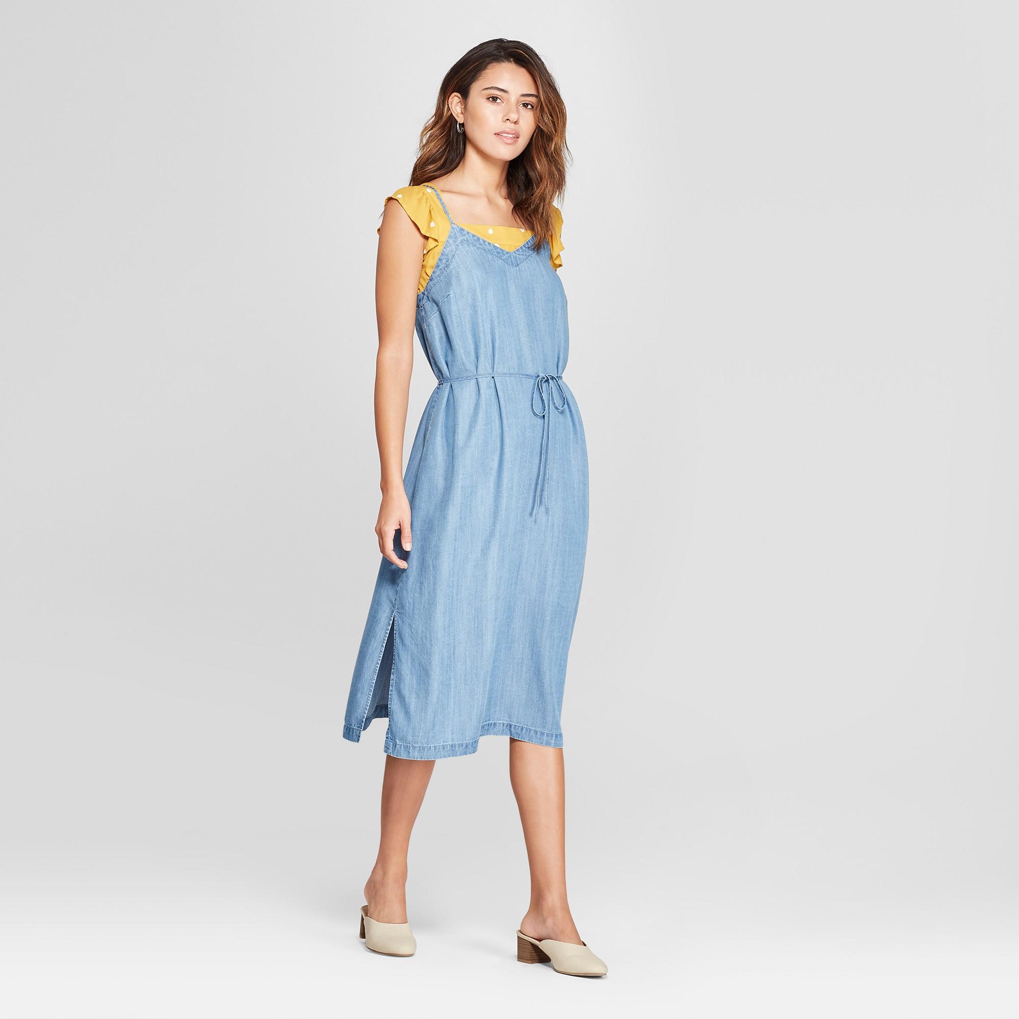30bc9d04e3 Women s Denim Slip Dress - Universal Thread Medium Wash M