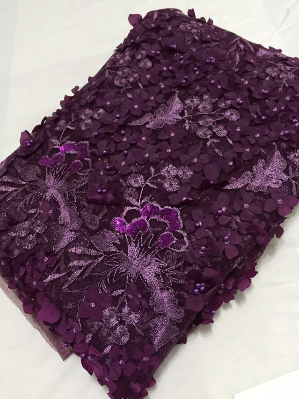 african lace fabric with 3D flower Purple embroidered 2017 latest beaded  lace fabric high quality 3d lace fabric for wedding-in Lace from Home    Garden on ... 7cfcbc0b2921