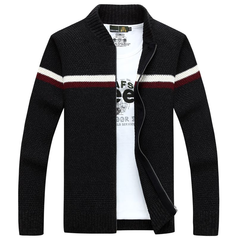 NIANJEEP Cardigan Agasalho Masculino Brand Clothing Cotton Stand Collar  Autumn Winter Pattern Striped Sweater Men A3357 5893c9b1db73