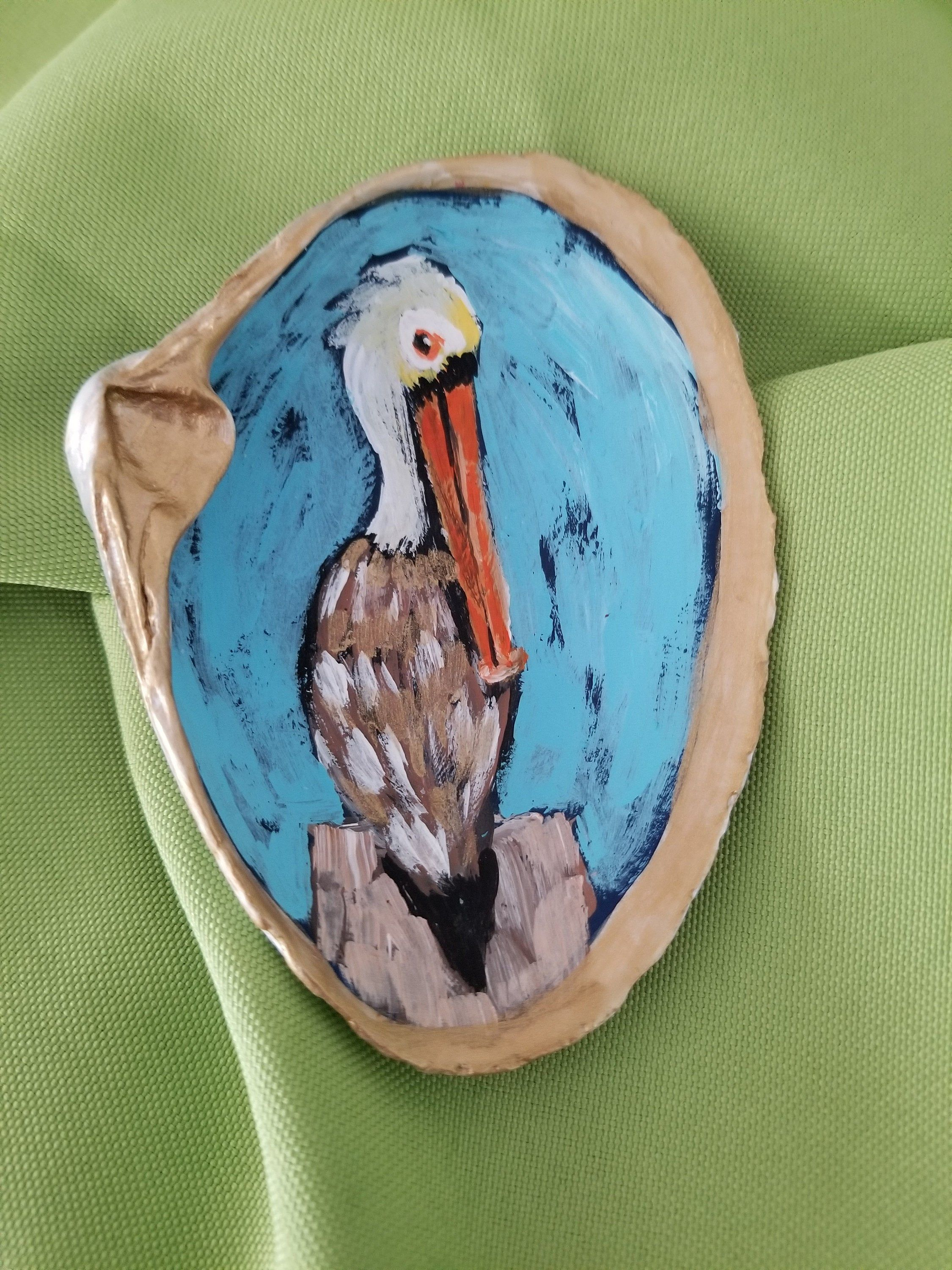 Jewelry Dish Miniature Painting Ring Dish with a Hand Painted Pelican in Acrylics on an Oyster Shell
