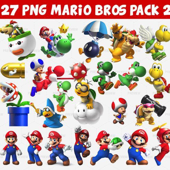Mario Bros 27 Png Pack 2 Instant Download Mario Bros Mario Png