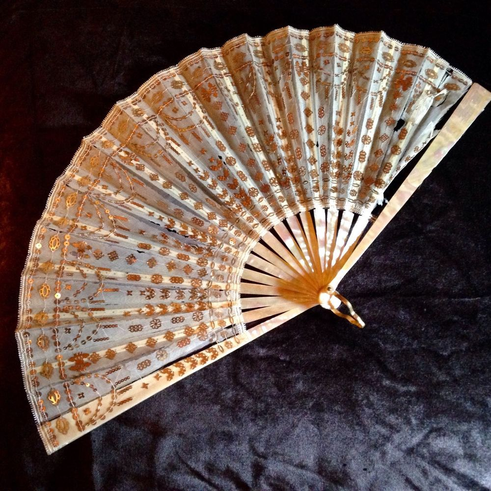 Antique Silk Fan, Custom Signed Case, Historic Display / Restore Reenactment #Handmade #HandFan