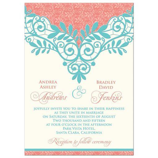 Wedding Invitation Vintage Lace Coral Turquoise Vintage Wedding Invitations Ivory Wedding Invitations Trendy Wedding Invitations