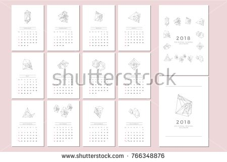 Vector Calendar Template With Polygonal Graphic  Simple