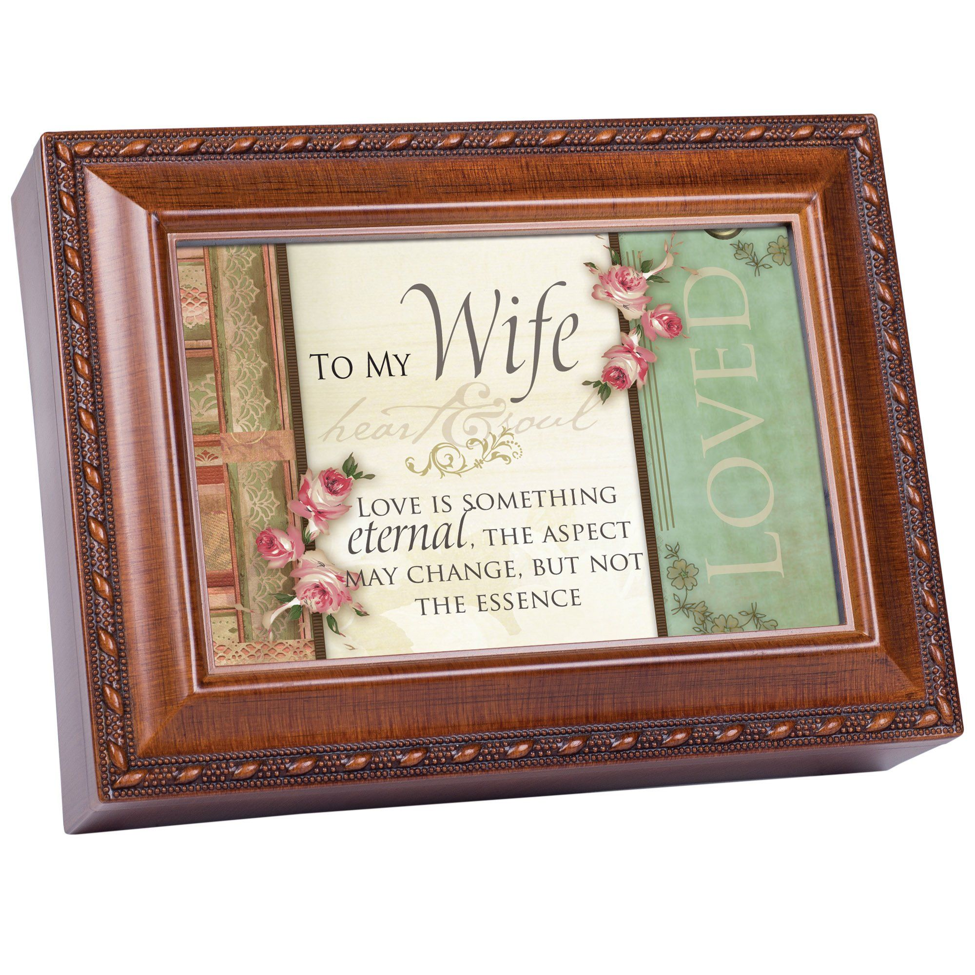 To My Wife Woodgrain Cottage Garden Traditional Music Box Plays ...