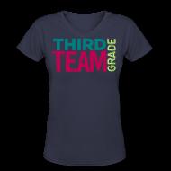 Women's T-Shirts ~ Women's V-Neck T-Shirt ~ third grade team (teal/lime/magenta)