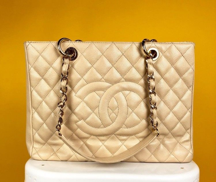 3b1352060b50 VERIFIED Authentic Chanel Beige Caviar Leather GST Grand Shopping Tote Bag   CHANEL  TotesShoppers