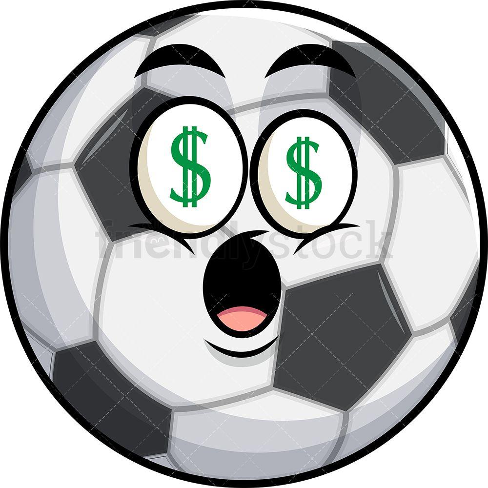 Soccer Ball With Money Eyes Emoji Cartoon Clipart Vector Friendlystock Eyes Emoji Soccer Ball Cartoon Clip Art