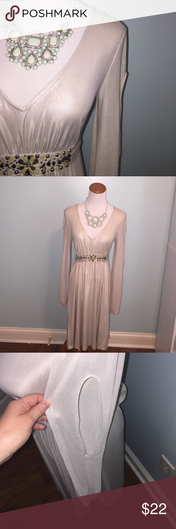 Gold shimmer dress Size S. Long sleeves with cutouts. Embellished belt ties in back. Cinching in back at waist. Polyester/spandex blend. ECI Dresses Midi