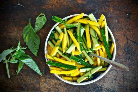 Mango-Cucumber Salad with Cayenne Vinaigrette and Lime Basil