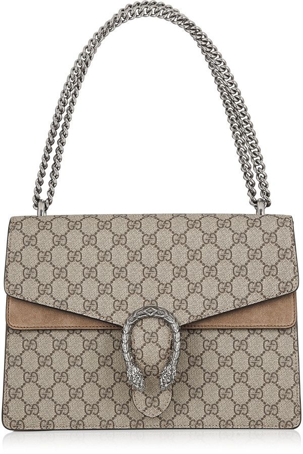 f80ac565ec05 Gucci Dionysus Coated Canvas And Suede Shoulder Bag - Taupe ...