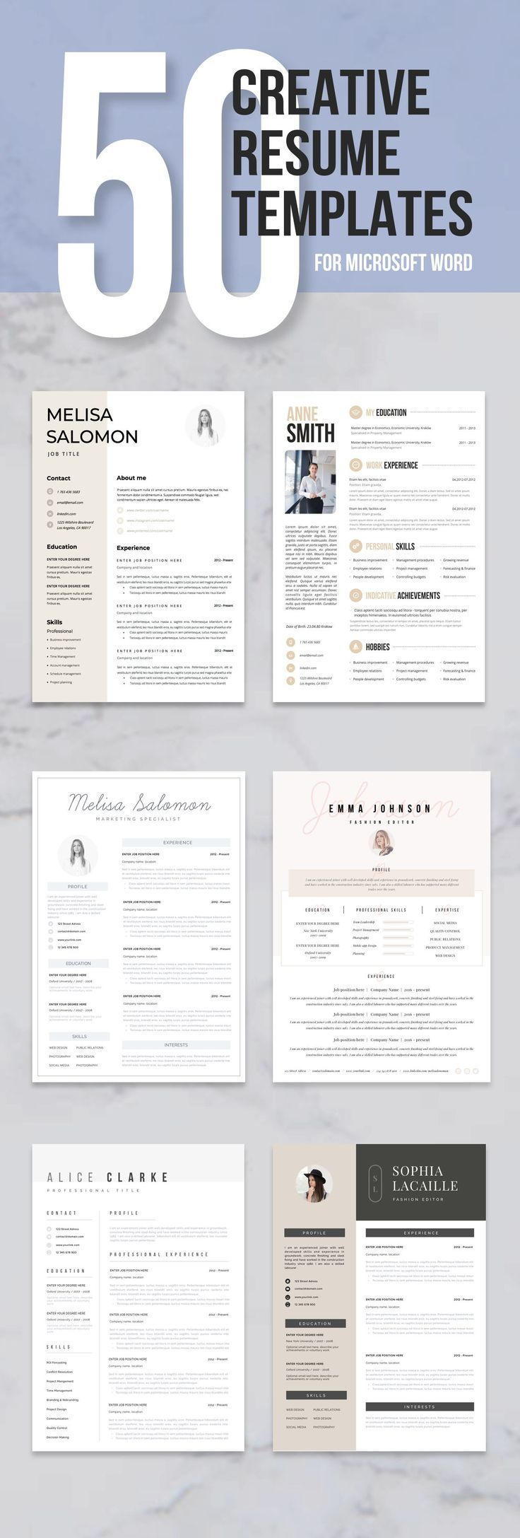 50 professional and creative Microsoft Word resume