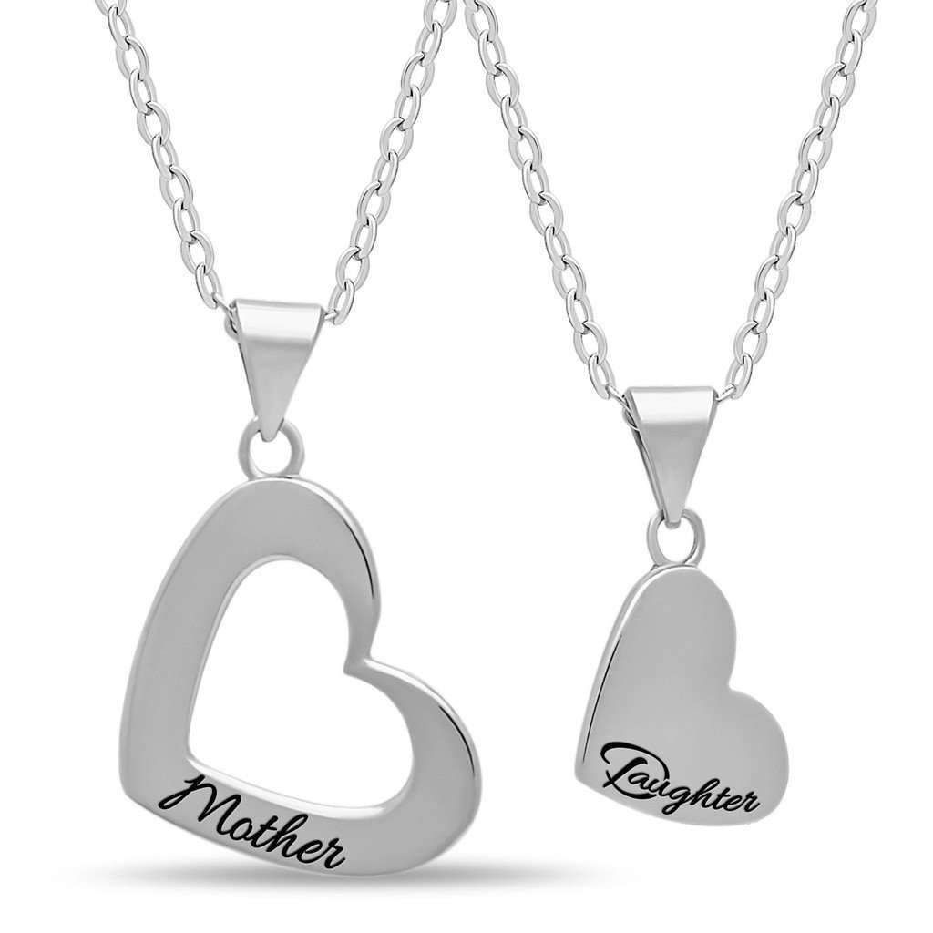 Mother daughter heart necklace set silver silver plated heart