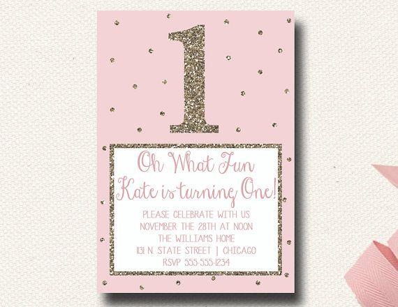 Oh What Fun First Birthday Glitter Blush Pink Confetti Polka Dot