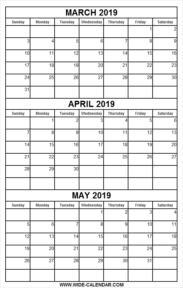 graphic regarding 3 Month Printable Calendars referred to as Printable Calendar March April Might 2019 March 2019