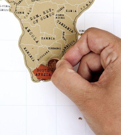 Wereldkaart krassen