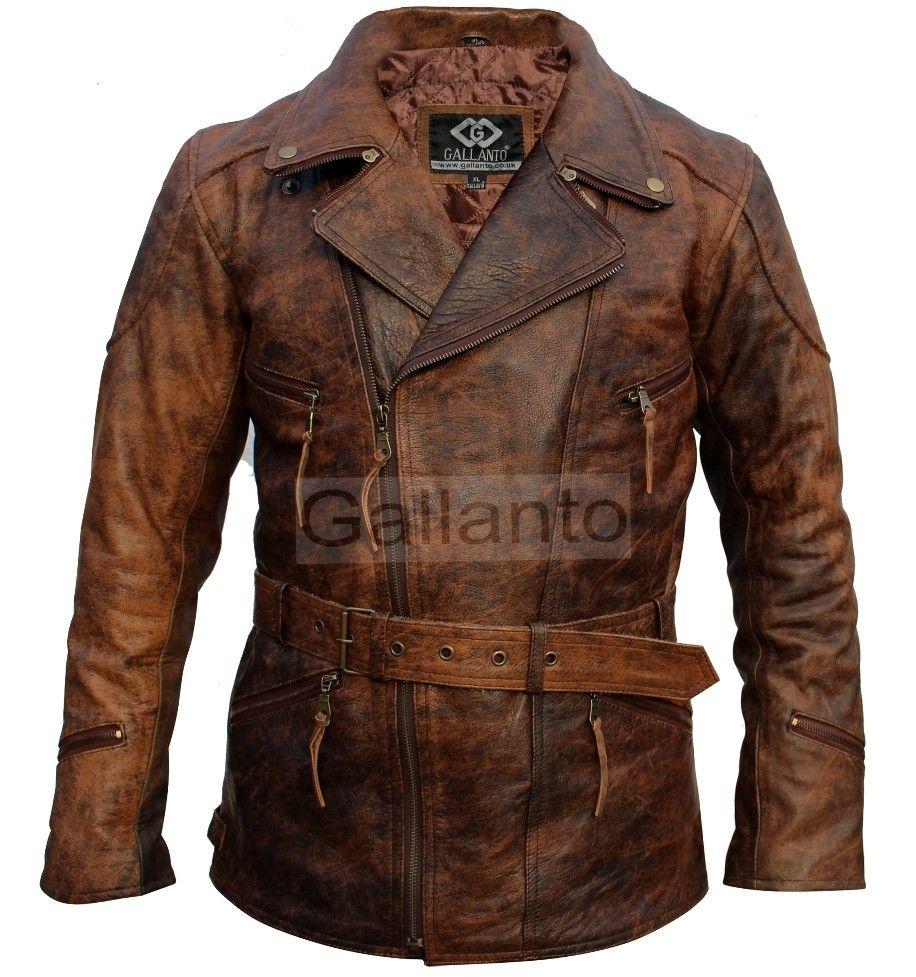 eac042988bd 3 4 Eddie Vintage Brown Mens Biker Leather Jacket