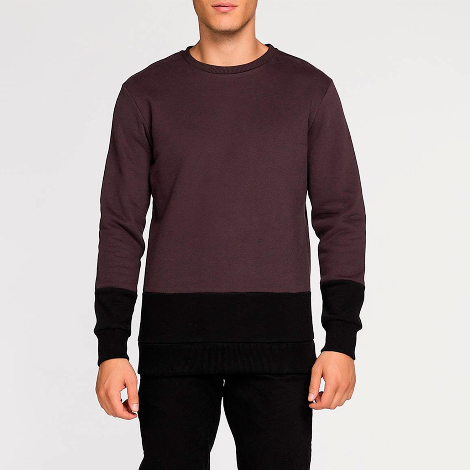 Vertical Color Block Crew Neck Sweatshirt Burgundy in