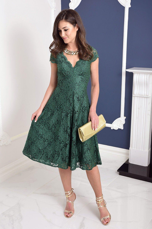 Bethany emerald green lace midi dress lace midi dress