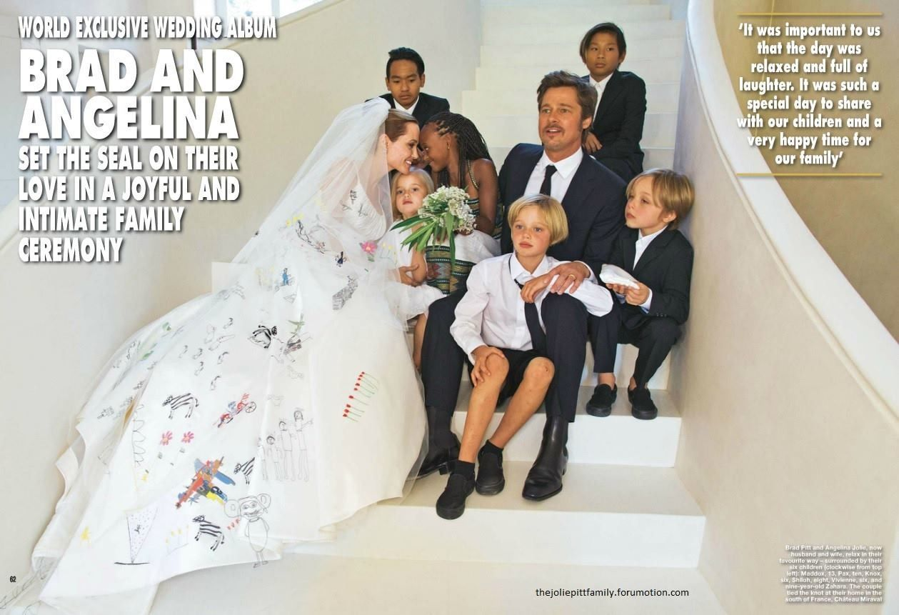 Angelina Jolie And Brad Pitt Wedding Picture With Kids Angelina