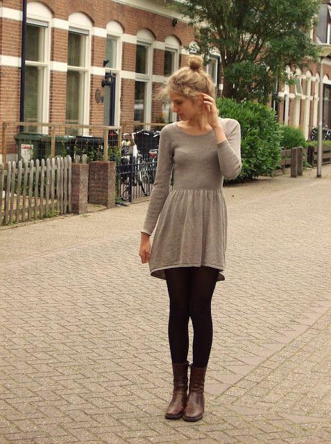 fall sweater dress | boots | leggings.
