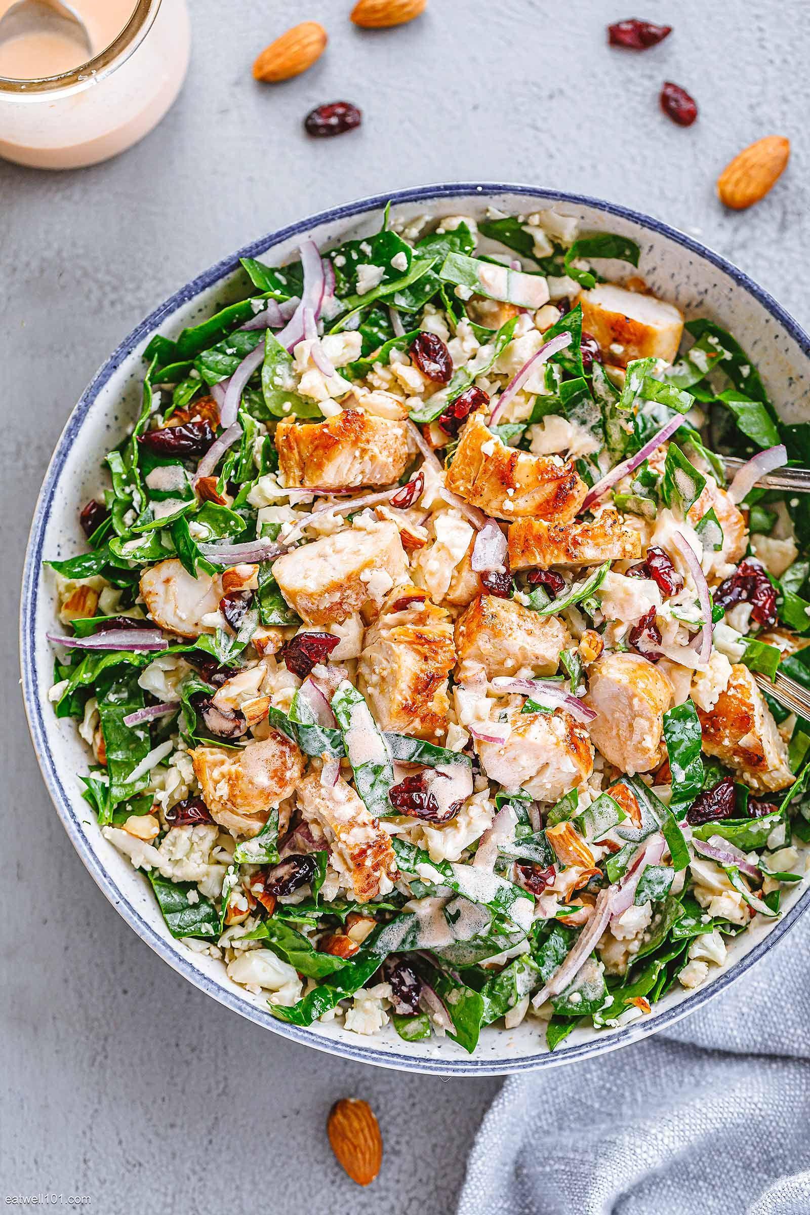 Healthy Spinach Chicken Salad With Cauliflower Chicken Salad Recipes Salad Recipes Spinach Stuffed Chicken