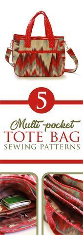 Multi Pocket Tote Bag Patterns  Intermediate  Advanced Sewing Patterns Weve collected and listed five of our favorite multi pocket bag pattern tote bags with tutorials av...