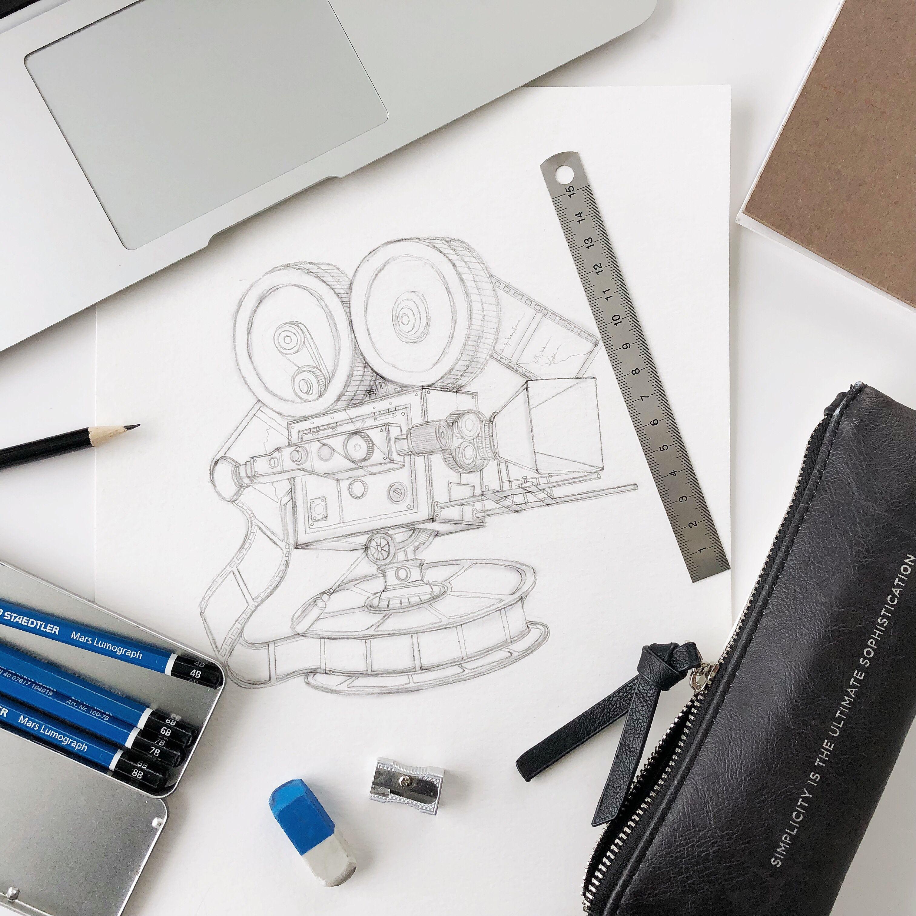 Vintage film camera watercolor pencil sketch sketchbook illustrator artwork sketchaday sketchbookart drawing art artist penandink inkart penart