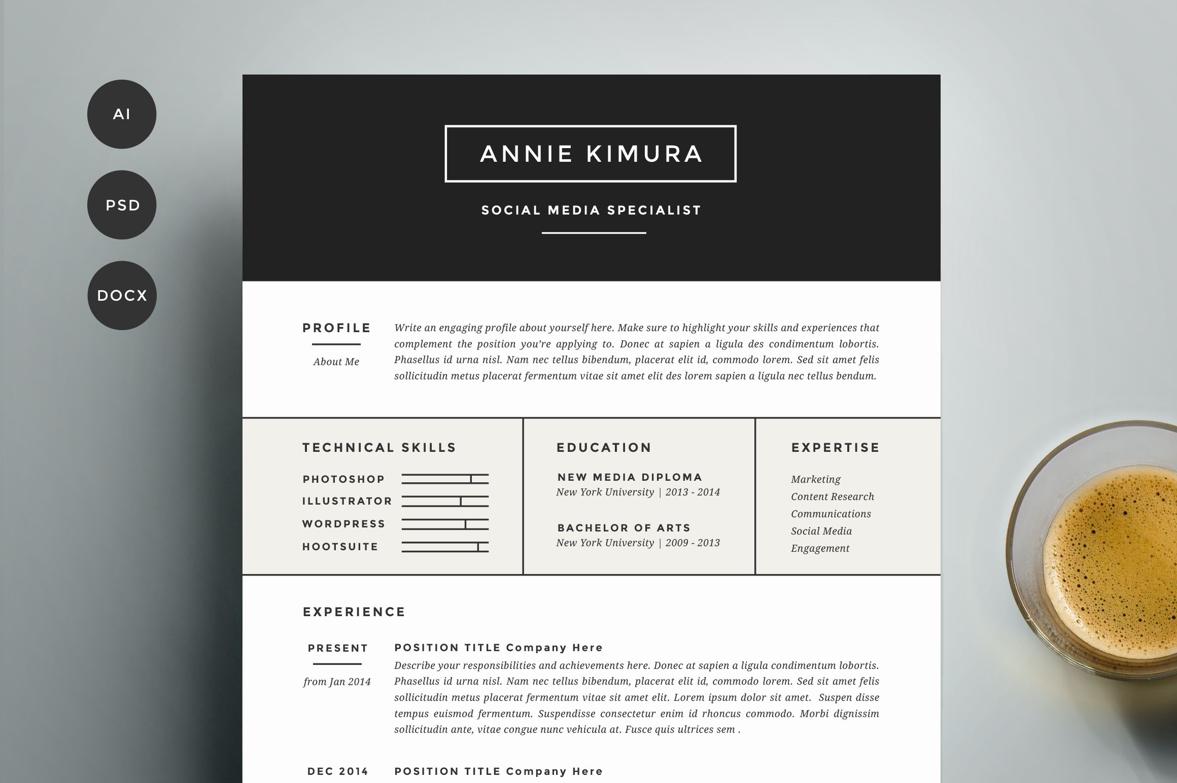 Unique Resume Templates Resume Template 4 Pack  Cv Templaterefinery Resume Coon