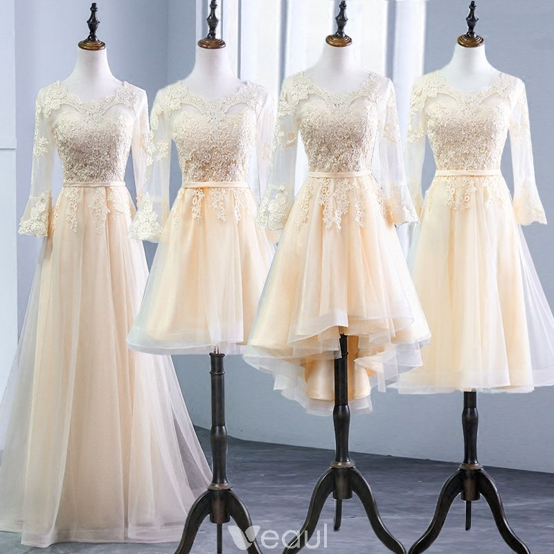 1d9cc92da6794 Chic / Beautiful Champagne Pierced Bridesmaid Dresses 2018 A-Line ...