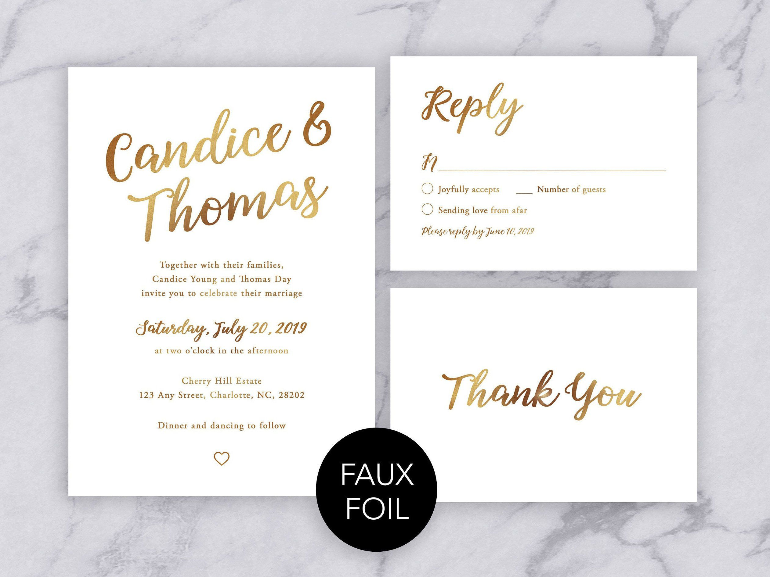Gold Wedding Invitation Template Gold And White Wedding Etsy Wedding Invitation Templates Invitation Template Modern Wedding Invitation Wording