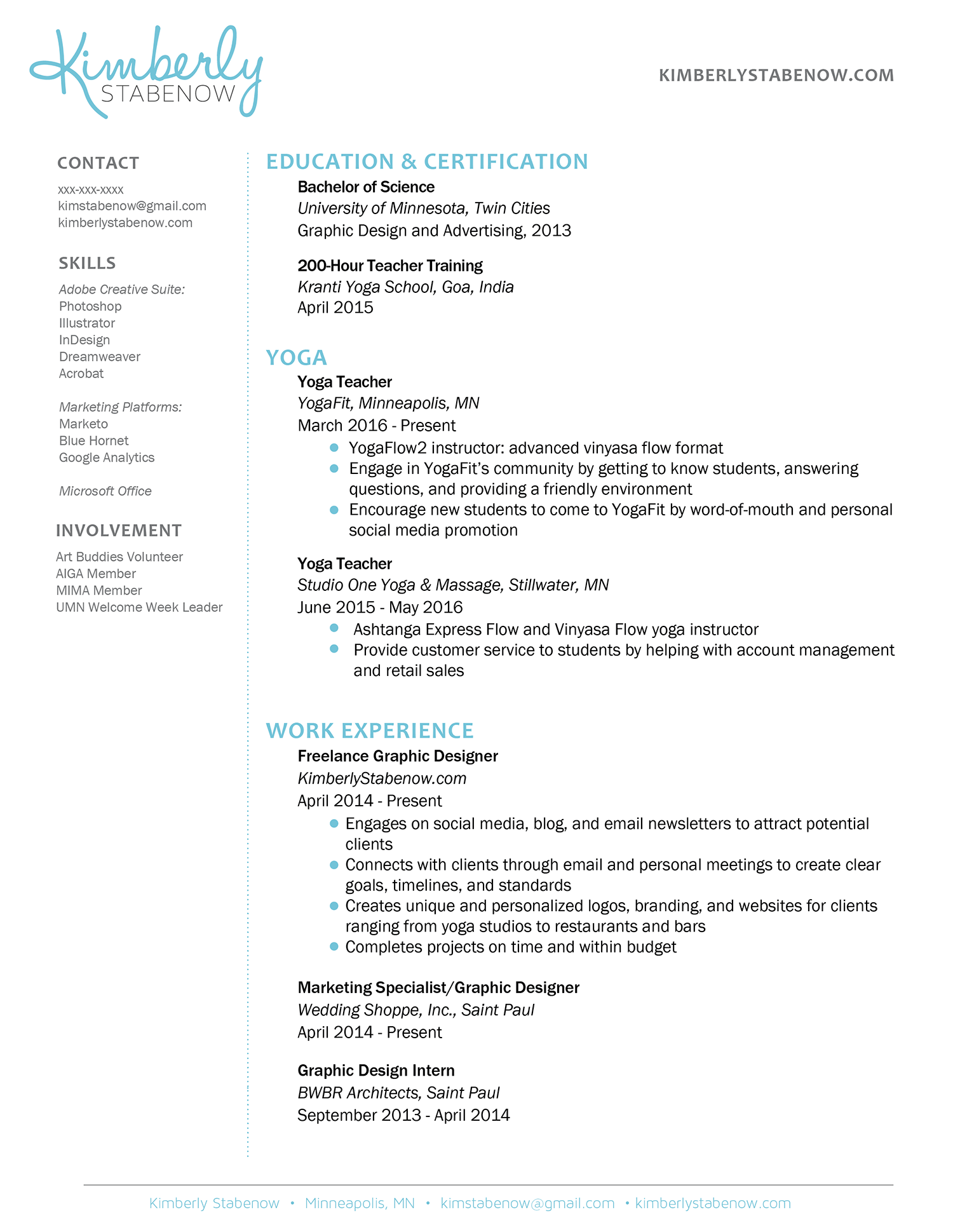 Yoga Teacher Resume Example