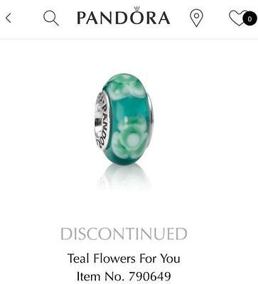 79b803861 Authentic-Pandora-Teal-Flower-for-you-Murano-Bead-790649-Retired-Only-2