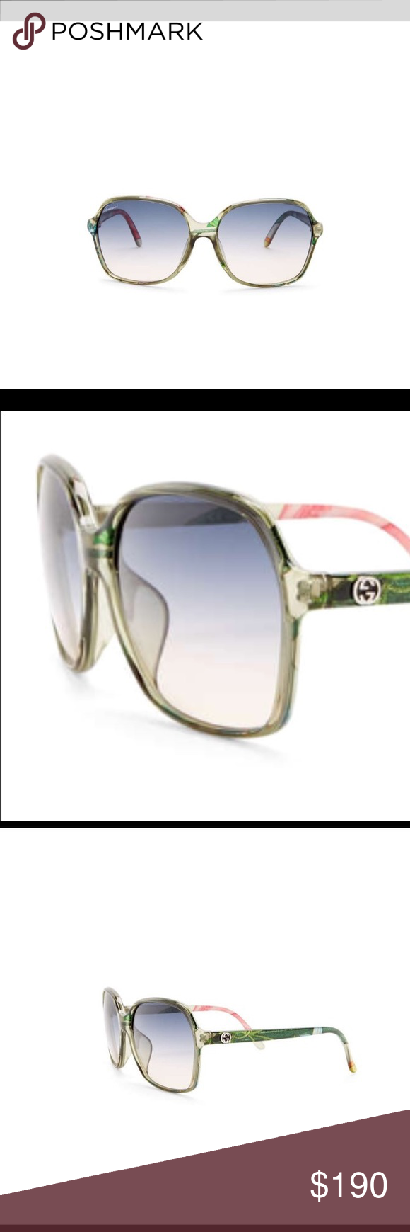 29bc2b7865 Authentic Gucci Green Floral Sunglasses Women s oversized sunglasses.  Printed green crystal frame. Lens color is smoke gradient. 100% UV  protection.