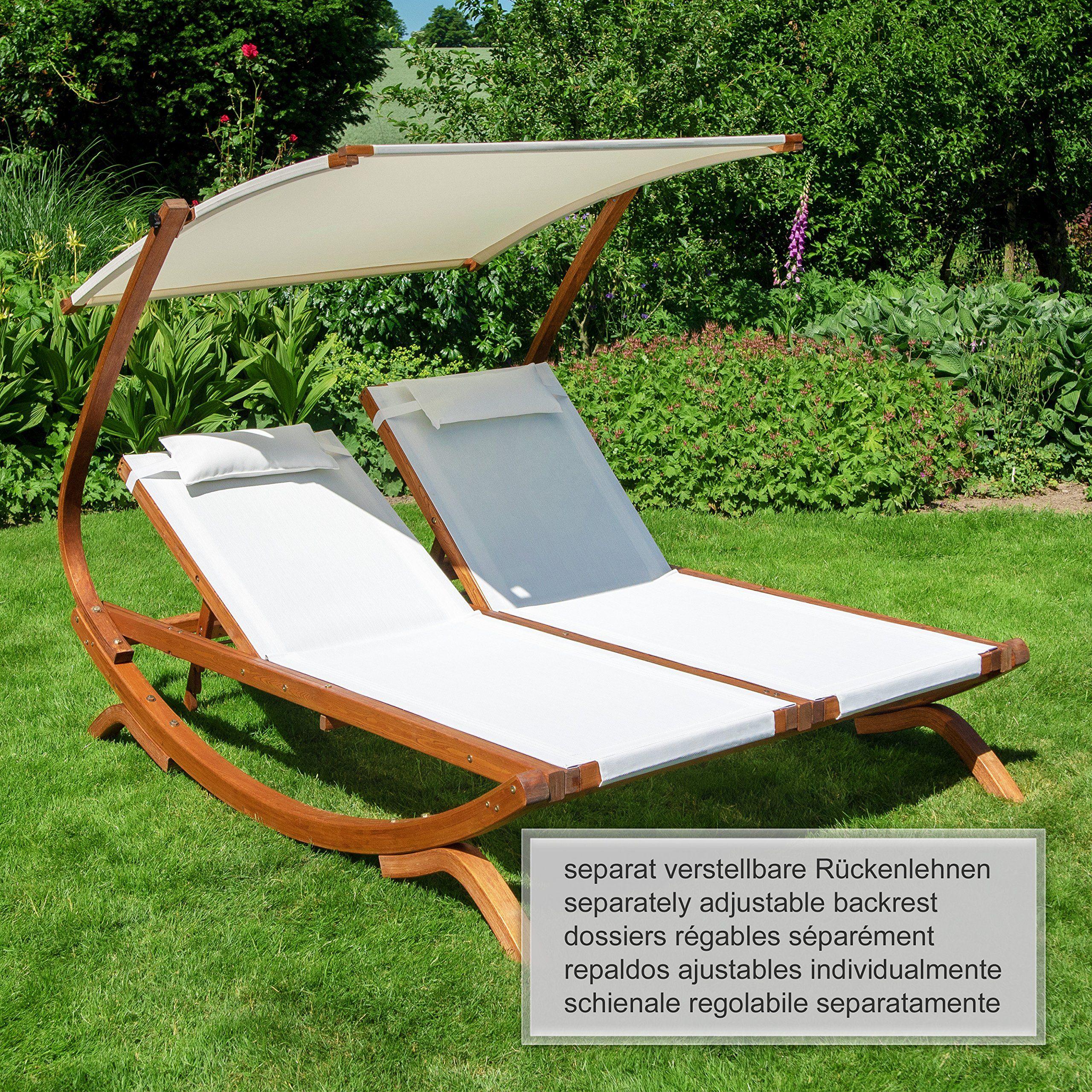 Amazon De Ampel 24 Lounge Doppel Sonnenliege Hawaii Mit Dach Gartenliege Mit Einzeln Verstellbarer Ruckenlehne Sonnenliege Sonnenliege Mit Dach Gartenliege