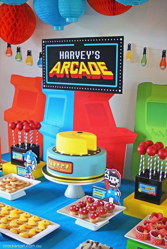 Arcade Video Game Pac Man Sonic Mario Themed Birthday Party Planning