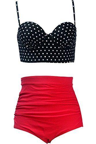 5c88ed8294 Qiaoer Womens Plus Size Vintage Push up Halter High Waisted Bikini Swimsuit  Set by Qiaoer,