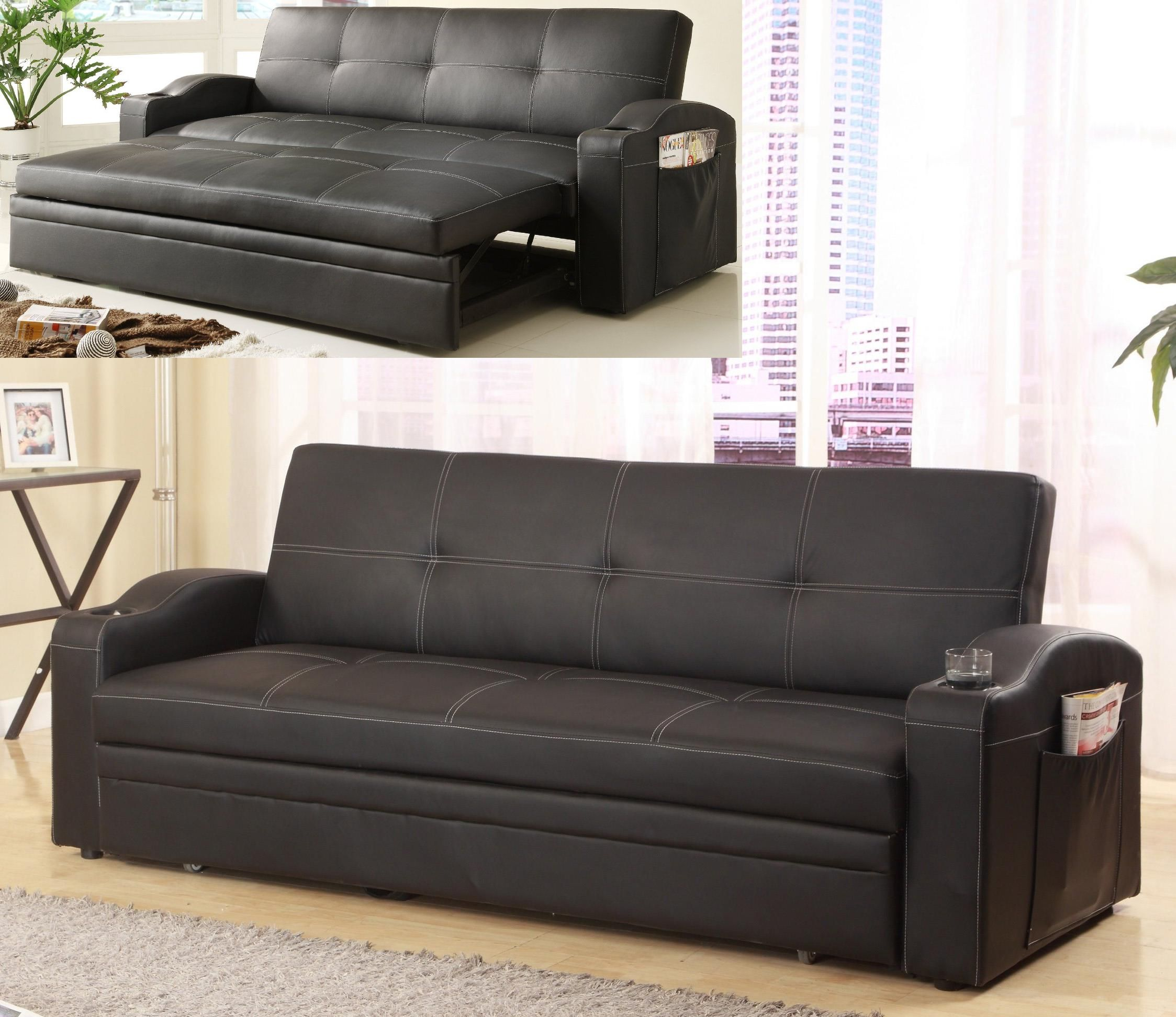 Convertible Sofa Futon In Bonded Leather With Cup Holderagazine Pouches 499 00 C M 5310