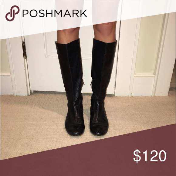 FRYE Boots🌟🖤 Gently used leather FRYE black boots. Beautiful cross stitch detail in back. Half zip. Frye Shoes Winter & Rain Boots