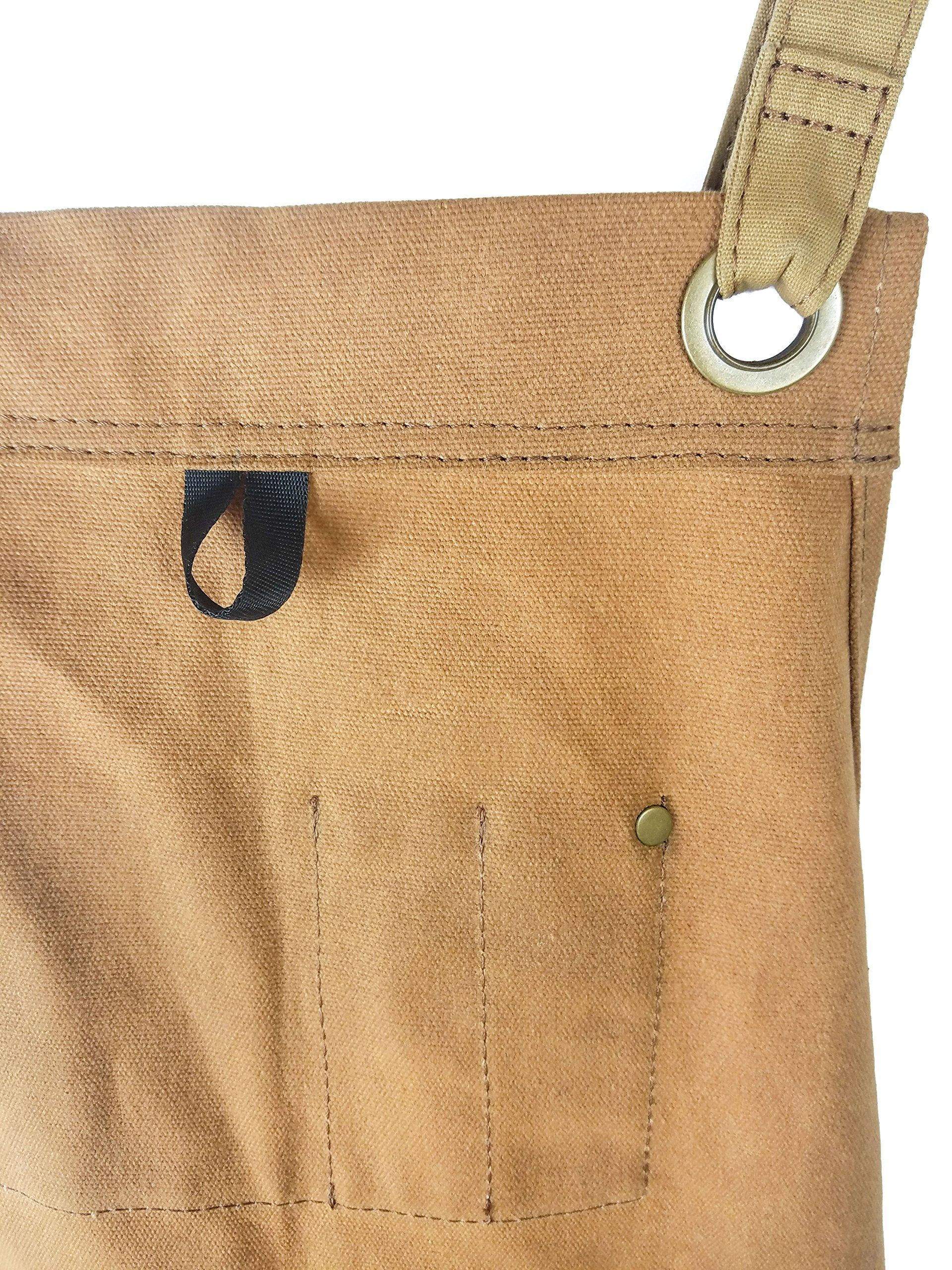 Waxed Canvas Apron Woodworking Edition Brown - Padded Hudson Durable Goods
