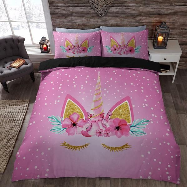 Polka Dots Floral Unicorn 3d Bedding Set Duvet Cover Store Addison