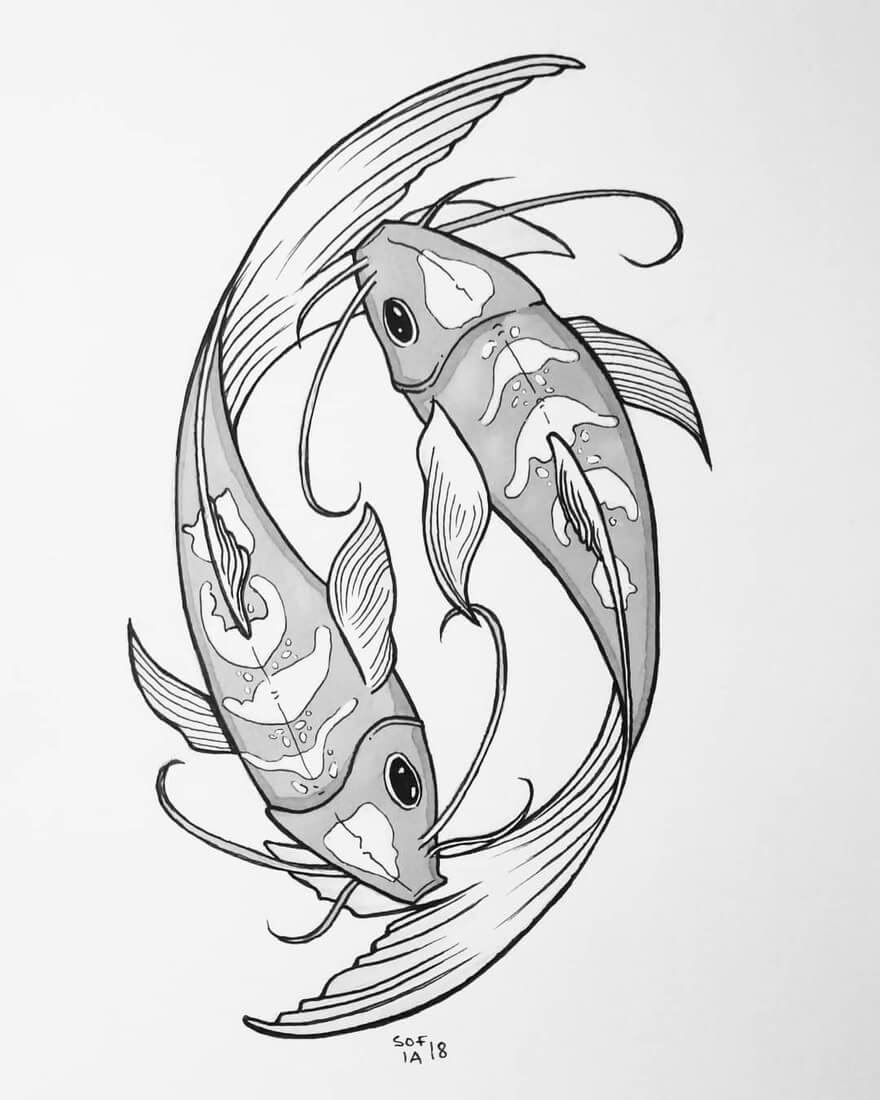 Black and White Ink Animal Drawings