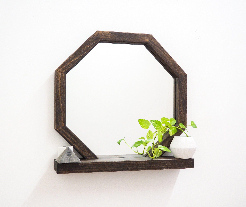 Octagon Functional Mirror Shelf Functional Mirror Mirror With Shelf Wooden Mirror Frame